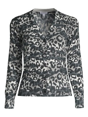 Minnie Rose leopard-print v-neck cardigan