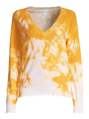 Minnie Rose tie-dye distressed v-neck sweater