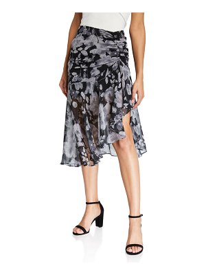 MISA Fiona Ruched Floral Skirt
