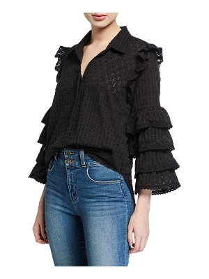MISA Juana Lace Ruffle Button-Front Top