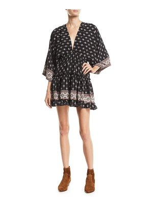 MISA Neily Printed V-Neck Flounce Mini Dress