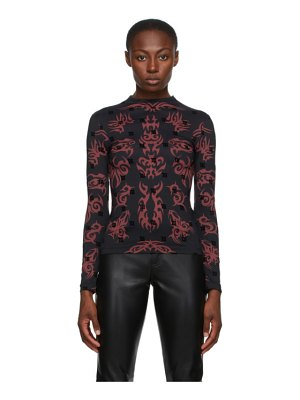 Misbhv black and red pattern monogram turtleneck