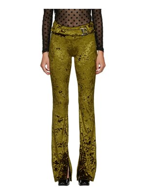 Misbhv green crushed velour trousers