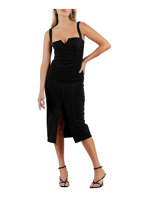 Misha Collection collection notch neck cocktail midi dress