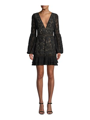 Misha Collection Harper Bell-Sleeve Lace Mini Dress