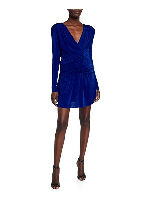 Misha Collection Kahlia V-Neck Long-Sleeve Shirred Mini Dress