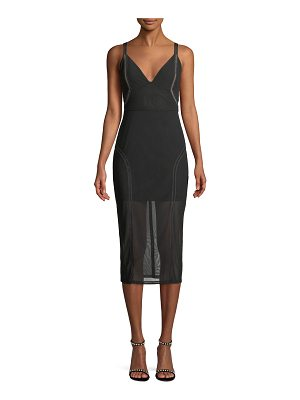 Misha Collection Katie V-Neck Sleeveless Mesh Pencil Dress