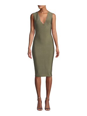 Misha Collection Solange V-Neck Knitted Bodycon Cocktail Dress
