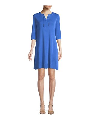 Misook 3/4-Sleeve Lace-Up Shift Dress