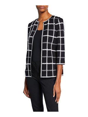 Misook 3/4-Sleeve Loop Stitch Checkered Jacket