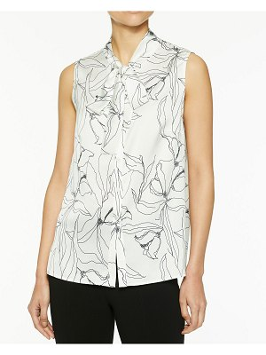 Misook Abstract Floral Tie-Neck Sleeveless Blouse