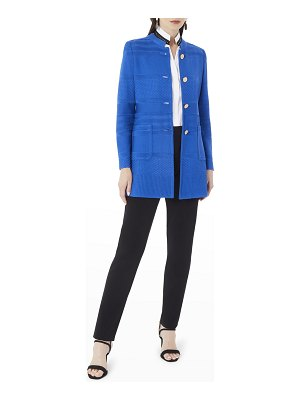 Misook Button-Front Textured Knit Jacket