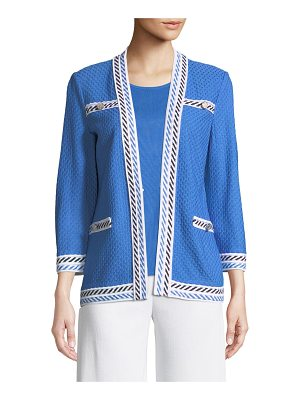 Misook Contrast-Trim Textured Jacket