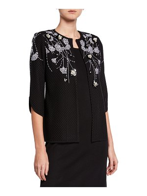 Misook Embroidered Textured Jacket with 3D Floral Appliques