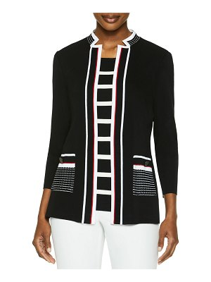 Misook Knit Jacket with Contrast Pockets