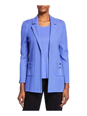 Misook Solid Chevron Textured Jacket with Pockets