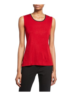 Misook Solid Tank with Trim
