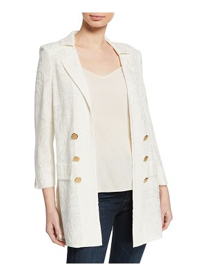 Misook Textured Long Jacket with Golden Buttons
