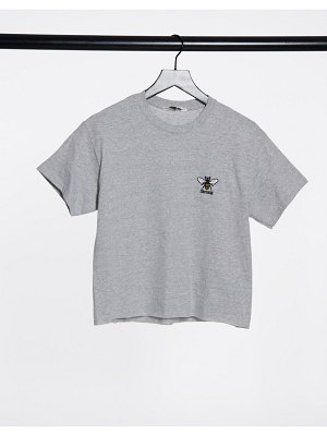 "Miss Selfridge ""bee strong"" t-shirt in gray-grey"