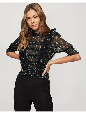 Miss Selfridge blouse with frill detail in black floral