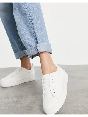 Miss Selfridge chunky lace up sneakers in white