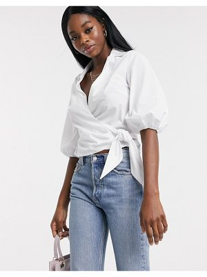 Miss Selfridge cotton wrap shirt in white