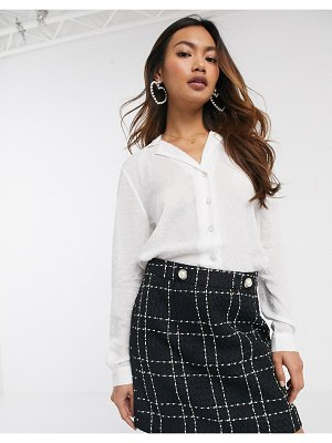 Miss Selfridge dobby tie front shirt in white