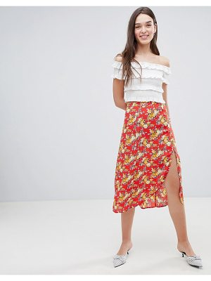 Miss Selfridge floral side button midi skirt