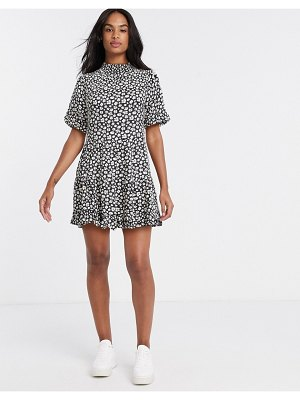 Miss Selfridge high neck mini tea dress in daisy floral print-black