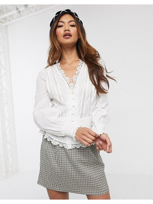 Miss Selfridge lace blouse in ivory-cream