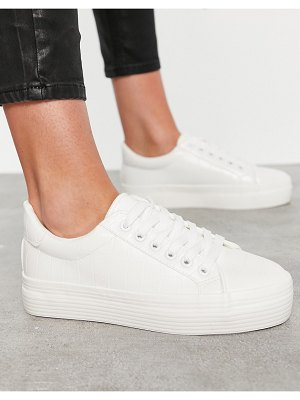 Miss Selfridge lace up sneakers in white