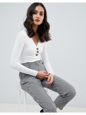 Miss Selfridge long sleeve v-neck top with button down in cream