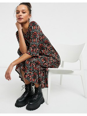 Miss Selfridge midi dress with frill sleeves in red floral print-black