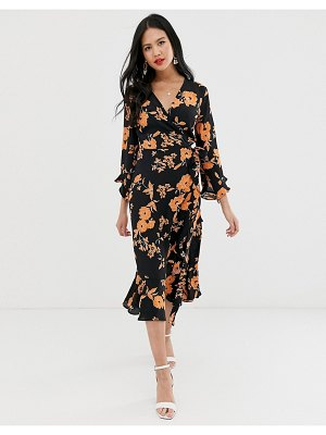 Miss Selfridge midi wrap dress in floral print