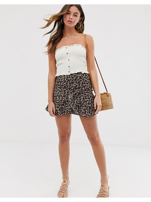 Miss Selfridge mini skirt with ruffles in ditsy floral