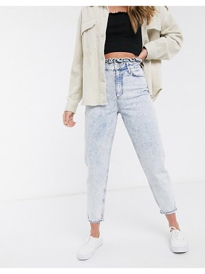 Miss Selfridge mom jeans with frill top in light acid wash-blue
