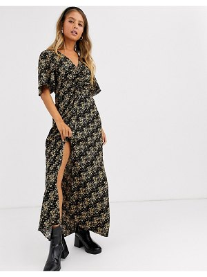 Miss Selfridge rouched midi dress in ditsy floral-black