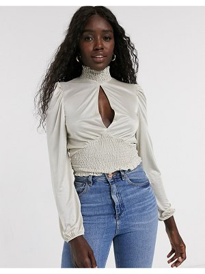 Miss Selfridge top with shirred neck in cream