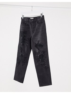Miss Sixty declan distressed embellished mom jeans-black