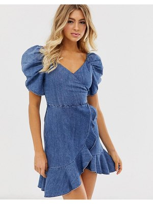 Miss Sixty denim flare dress with strap detail-blue