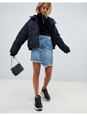 Miss Sixty denim skirt with overlay detail-blue