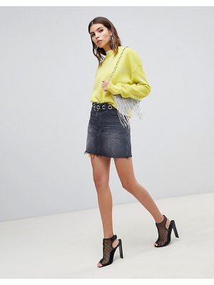 Miss Sixty denim skirt with raw hem and printed logo detail-black