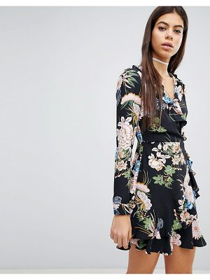 MISSGUIDED Floral Printed Wrap Dress