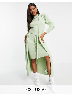 MISSGUIDED maxi cardigan with belt in sage
