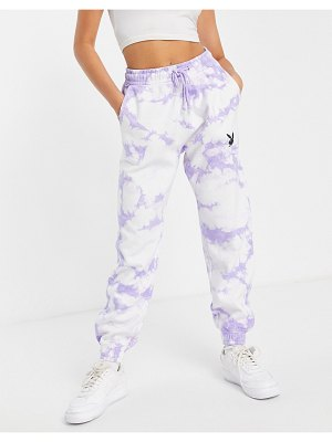 MISSGUIDED playboy oversized sweatpants in lilac tie dye