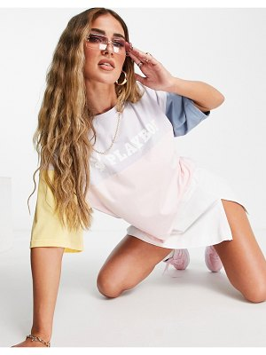 MISSGUIDED playboy oversized t-shirt in color block