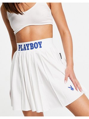 MISSGUIDED playboy sports tennis skirt in white