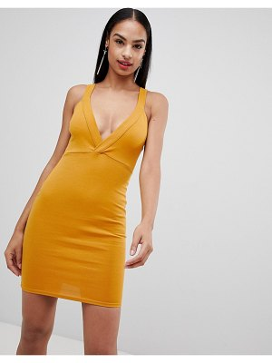 MISSGUIDED plunge front bodycon dress