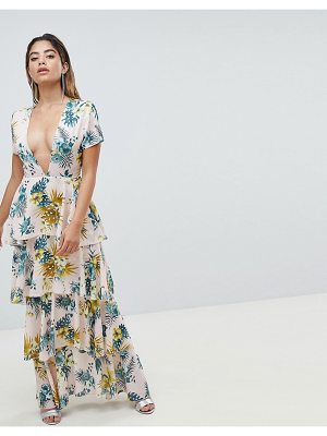 MISSGUIDED Plunge Tiered Maxi Dress
