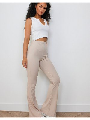 MISSGUIDED ribbed flare pant in stone-neutral